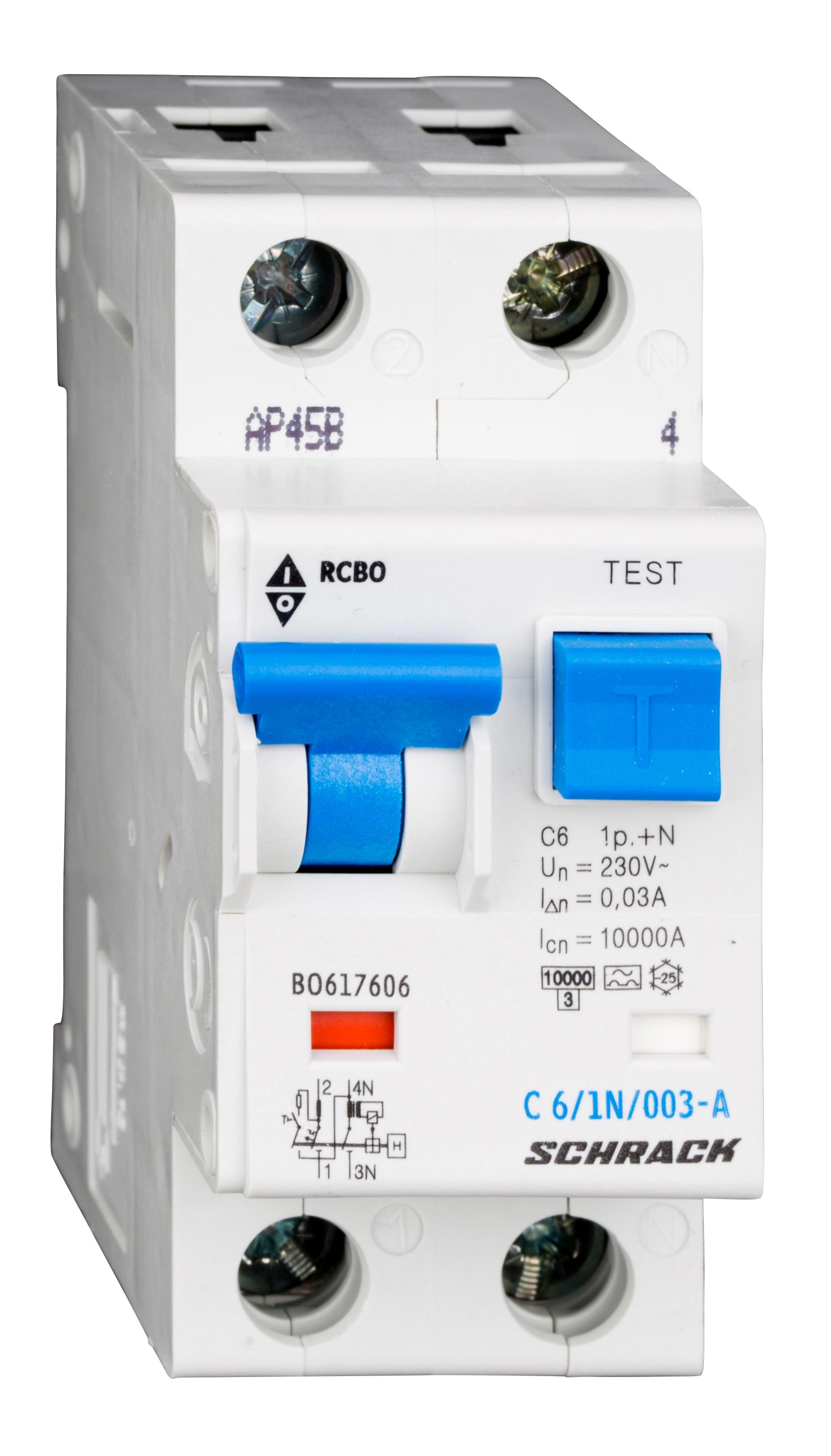 1 Stk LS-FI-Schalter, Kennlinie C, 6A, 30mA, 1-polig+N, Typ A BO617606--