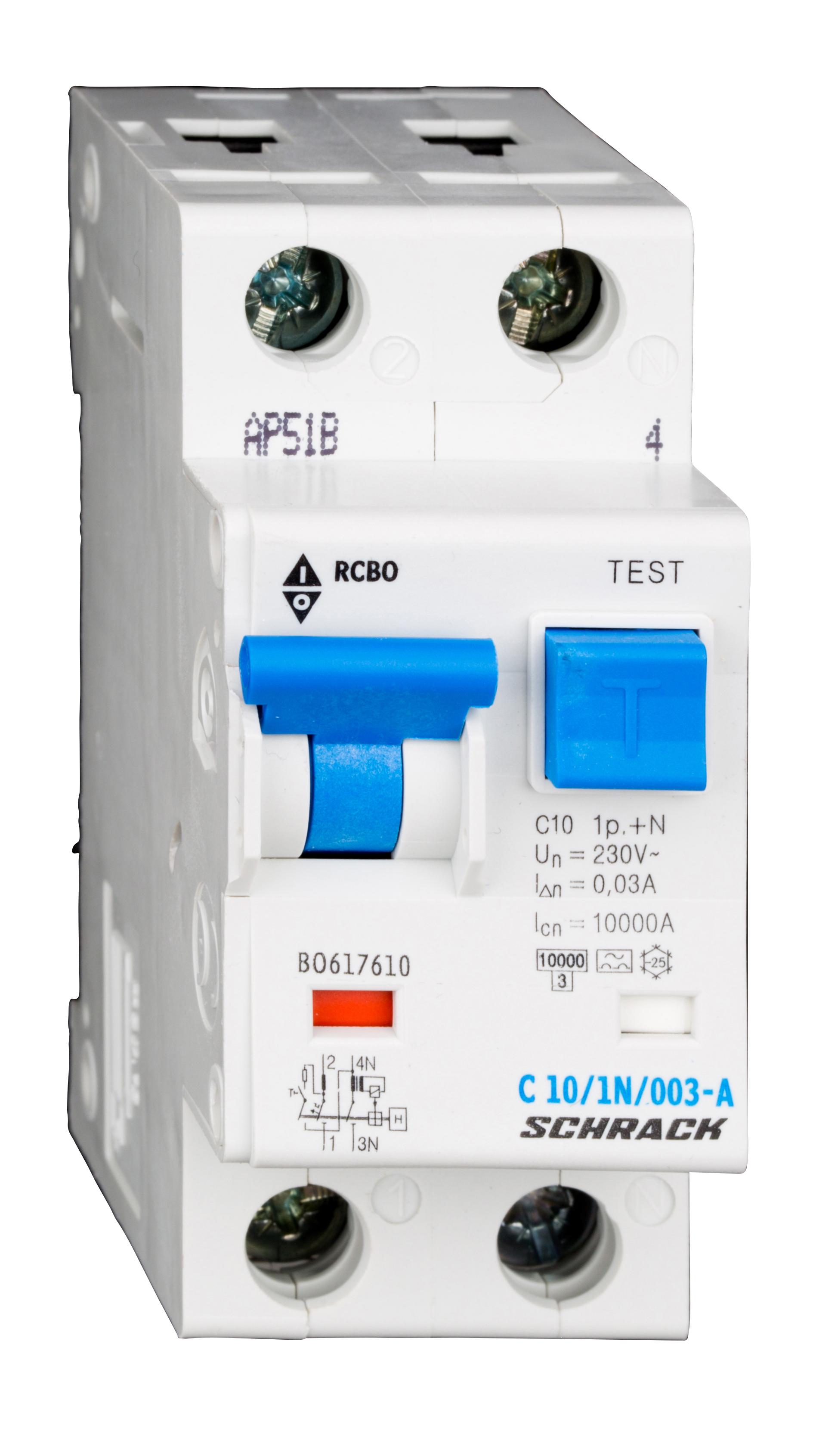 1 Stk LS-FI-Schalter, Kennlinie C, 10A, 30mA, 1-polig+N, Typ A BO617610--