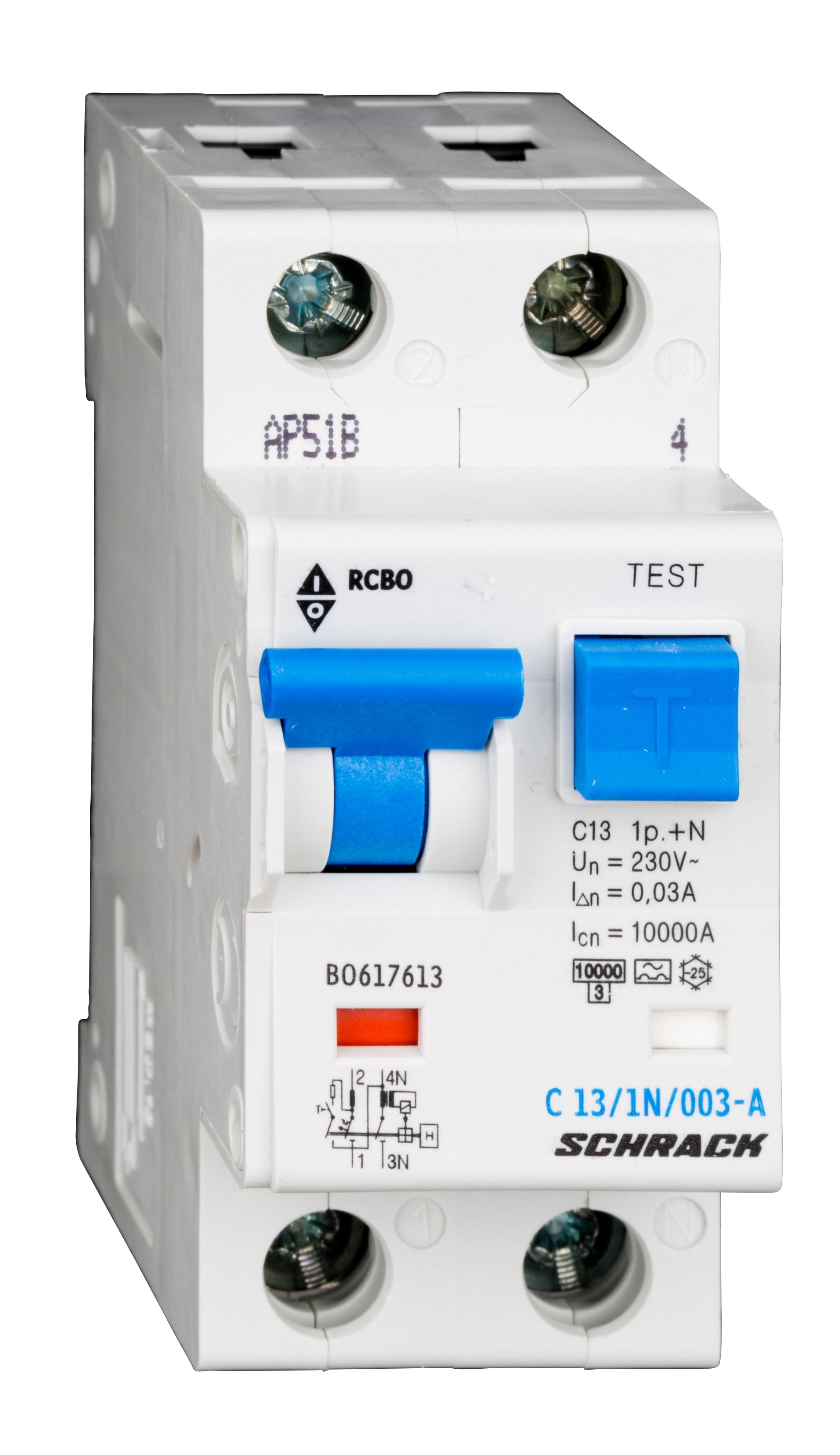 1 Stk LS-FI-Schalter, Kennlinie C, 13A, 30mA, 1-polig+N, Typ A BO617613--