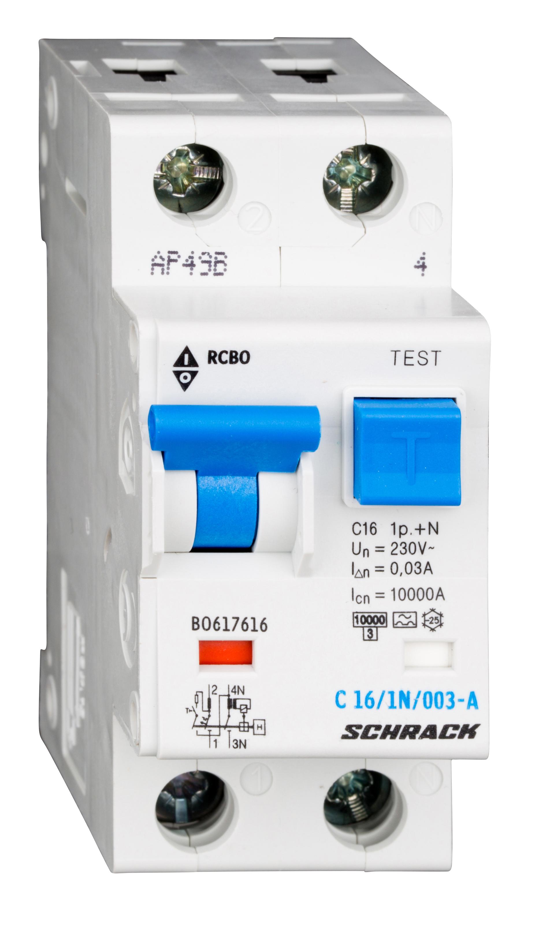 1 Stk LS-FI-Schalter, Kennlinie C, 16A, 30mA, 1-polig+N, Typ A BO617616--