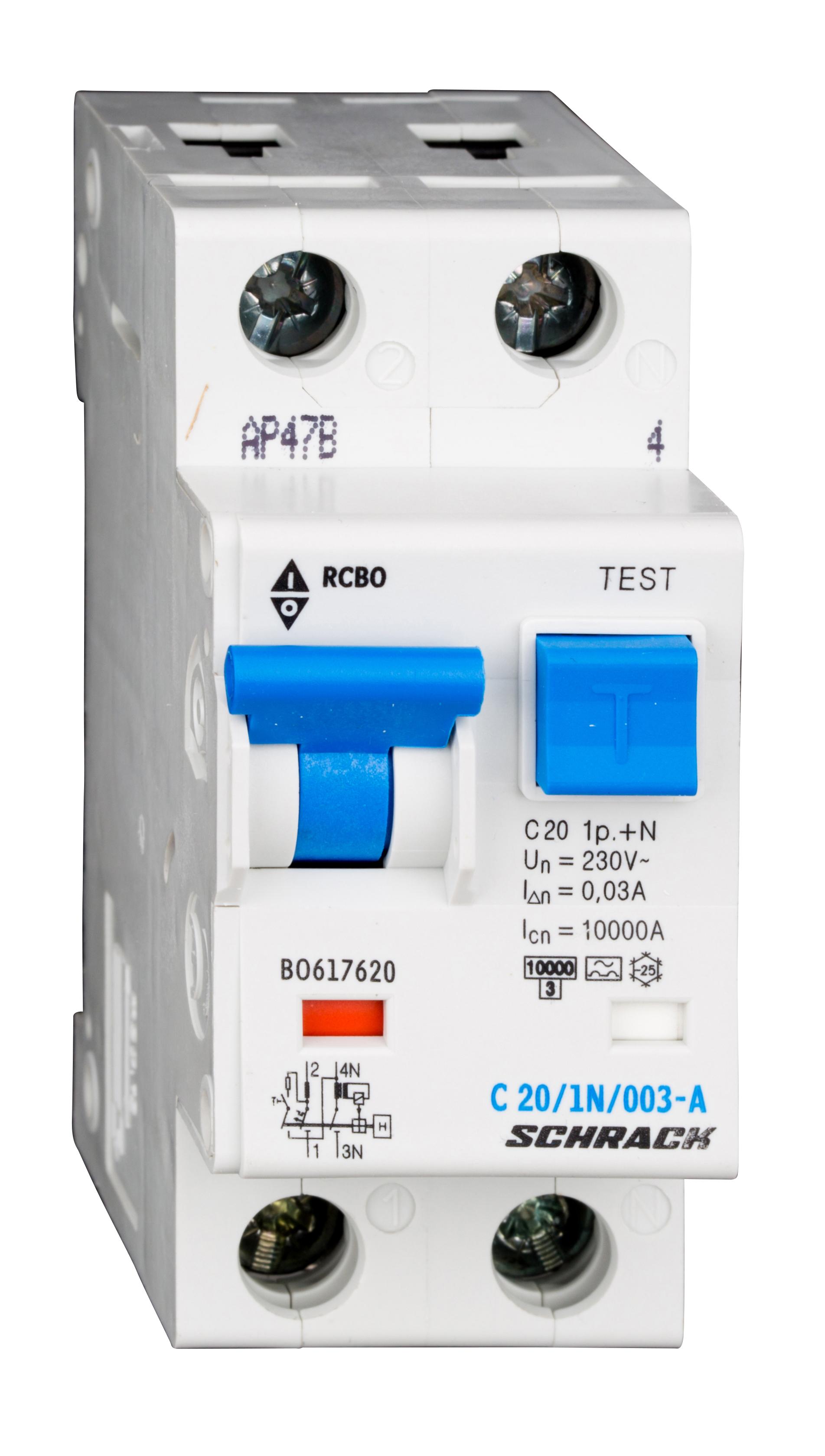 1 Stk LS-FI-Schalter, Kennlinie C, 20A, 30mA, 1-polig+N, Typ A BO617620--