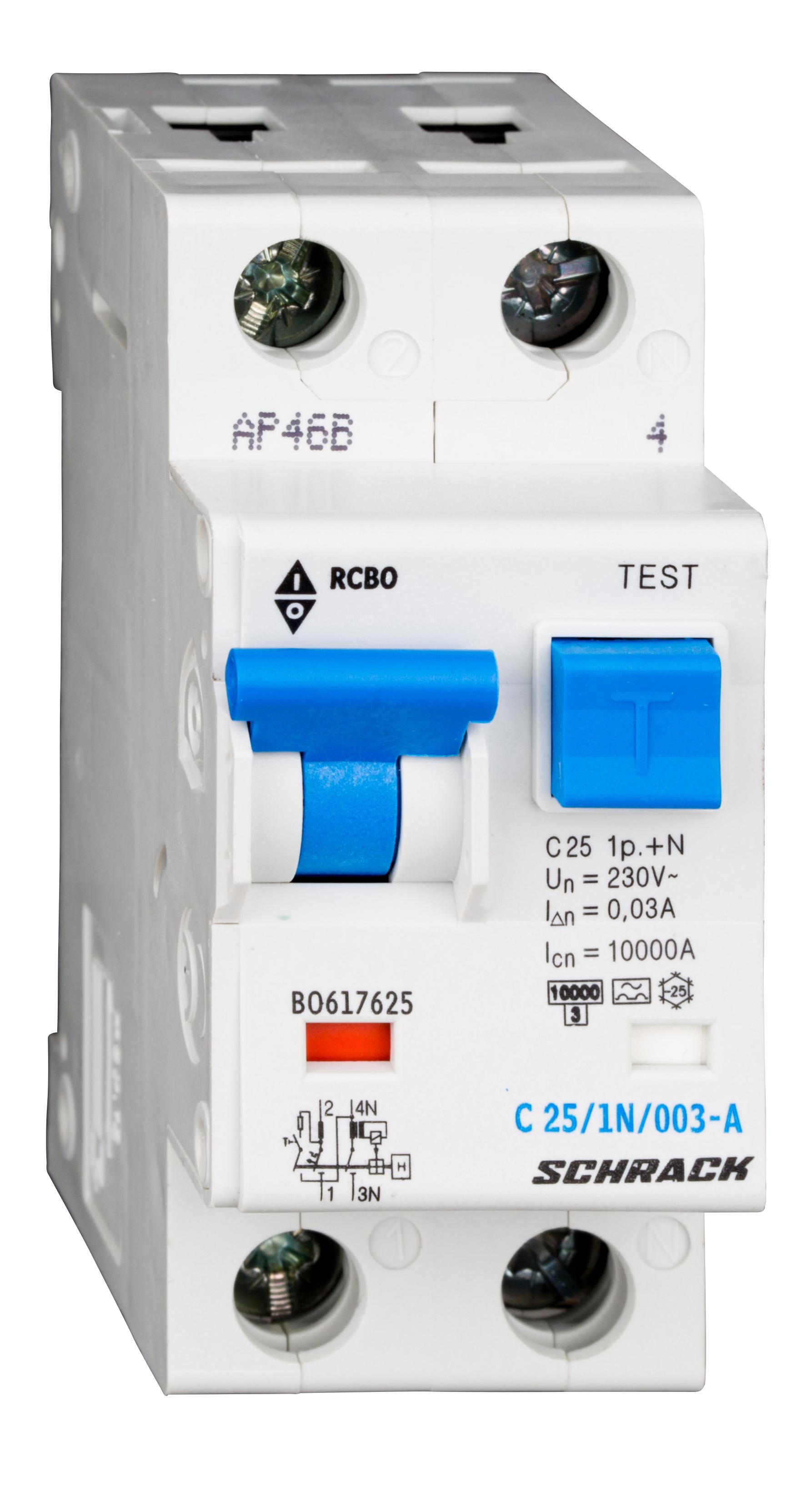 1 Stk LS-FI-Schalter, Kennlinie C, 25A, 30mA, 1-polig+N, Typ A BO617625--