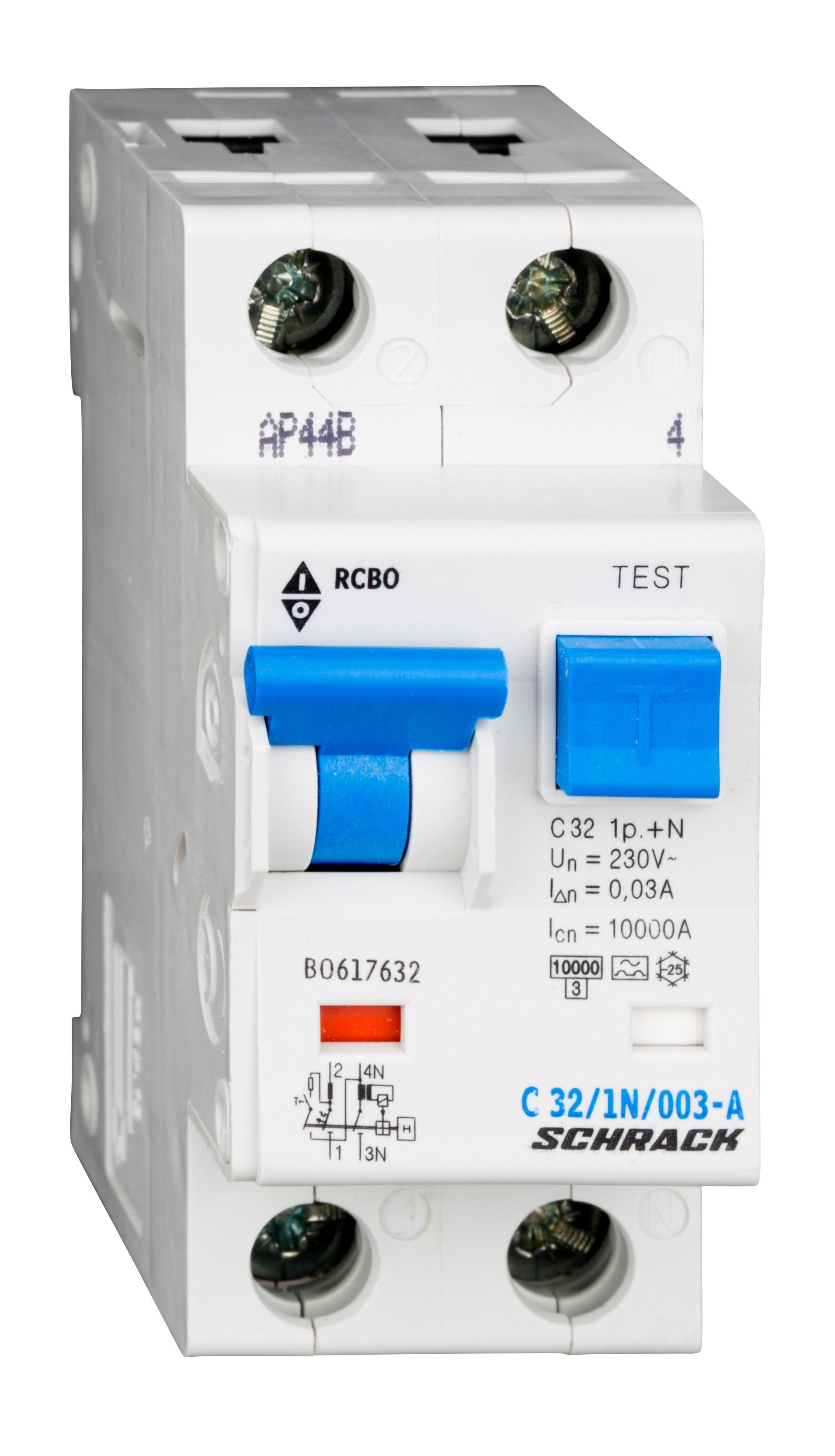 1 Stk LS-FI-Schalter, Kennlinie C, 32A, 30mA, 1-polig+N, Typ A BO617632--
