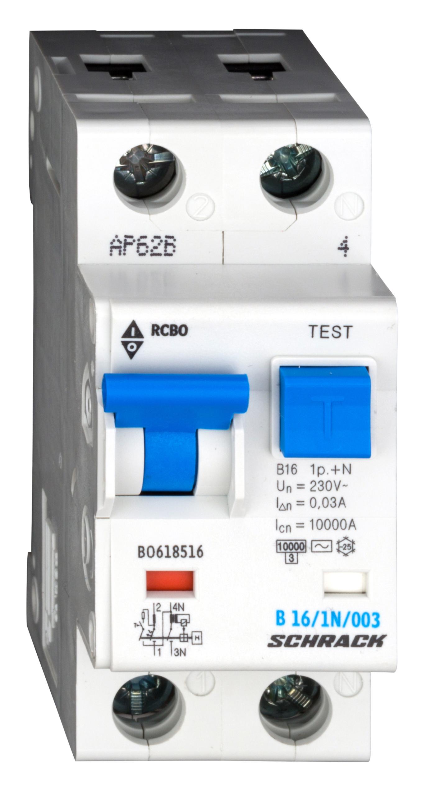 1 Stk LS-FI-Schalter, Kennlinie B, 16A, 30mA, 1-polig+N, Typ AC BO618516--