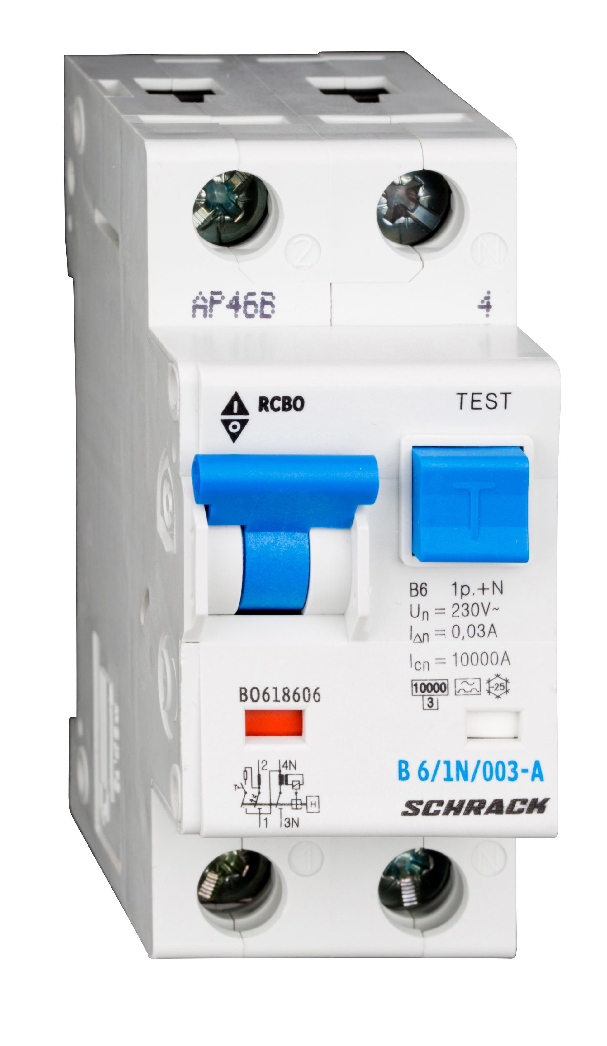 1 Stk LS-FI-Schalter, Kennlinie B, 6A, 30mA, 1-polig+N, Typ A BO618606--