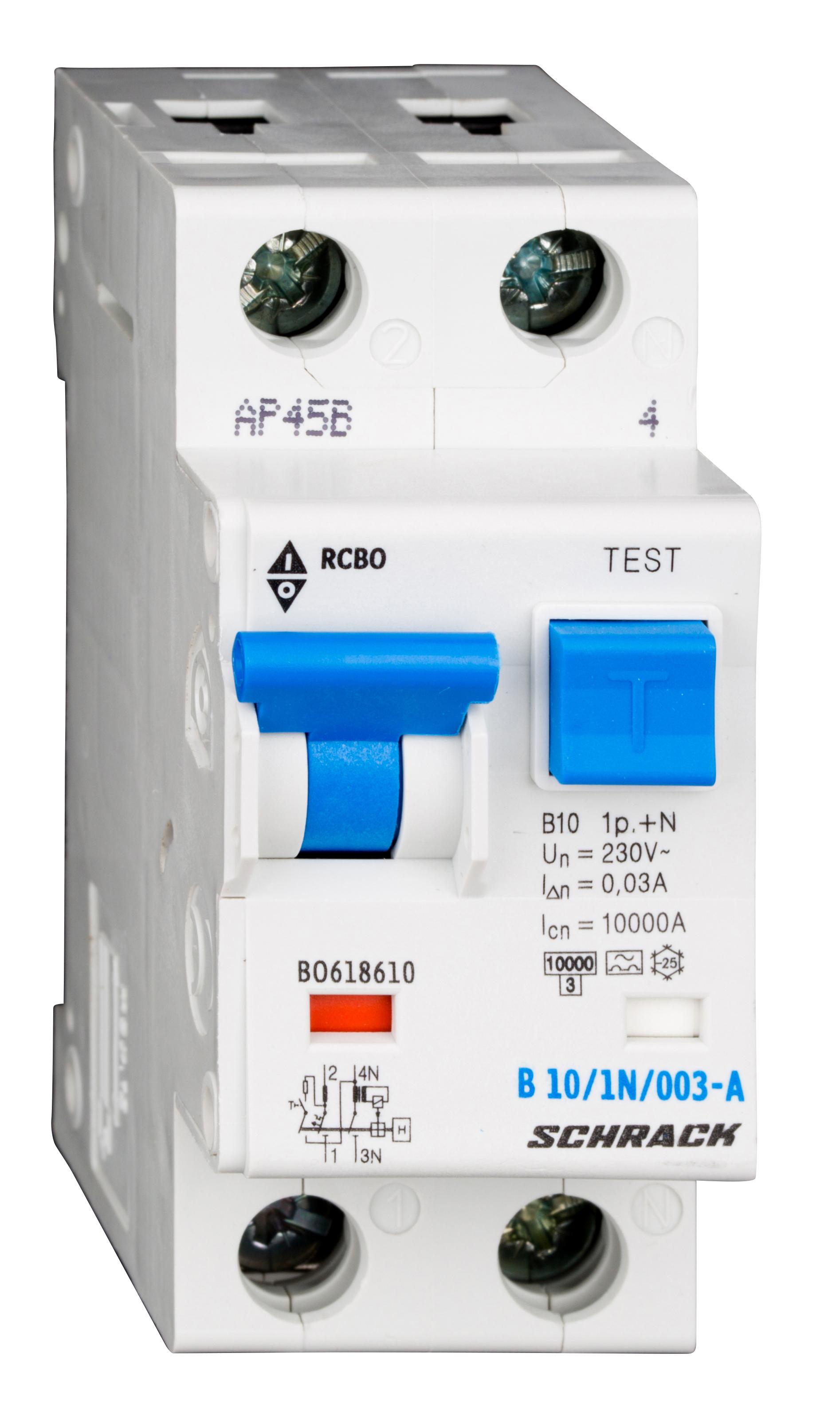 1 Stk LS-FI-Schalter, Kennlinie B, 10A, 30mA, 1-polig+N, Typ A BO618610--
