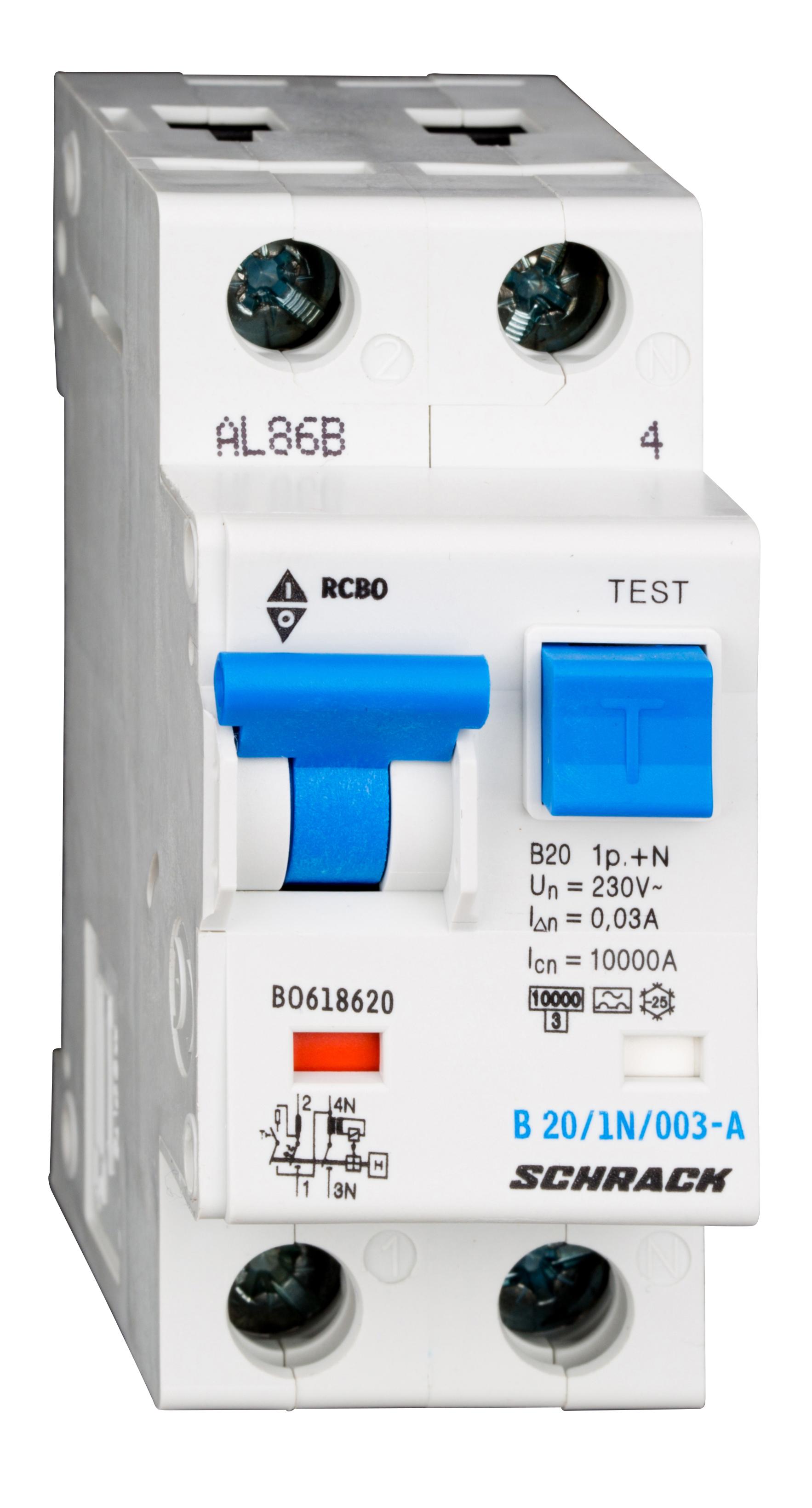 1 Stk LS-FI-Schalter, Kennlinie B, 20A, 30mA, 1-polig+N, Typ A BO618620--