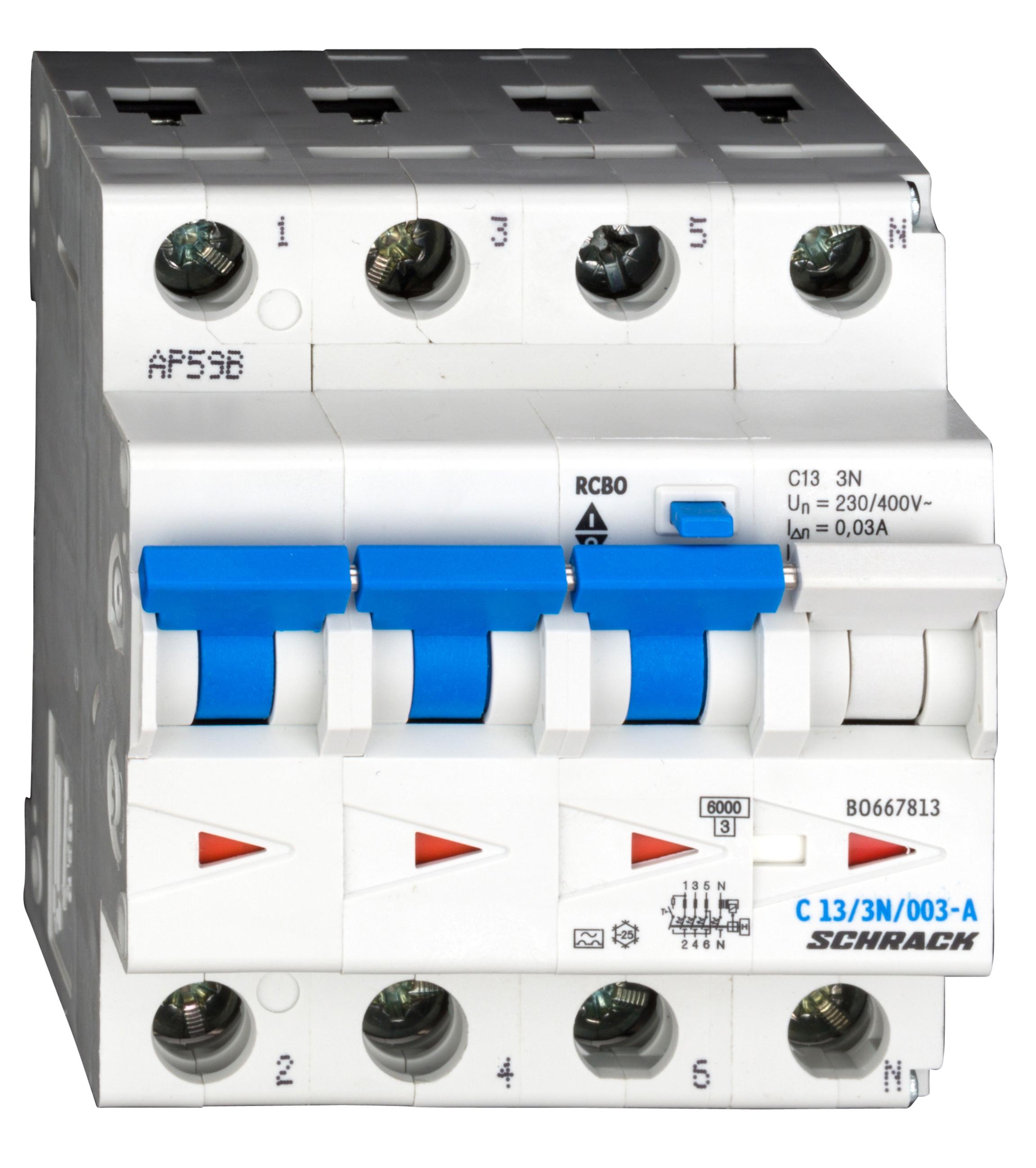 1 Stk LS-FI-Schalter, Kennlinie C, 13A, 30mA, 3-polig+N, Typ A BO667813--