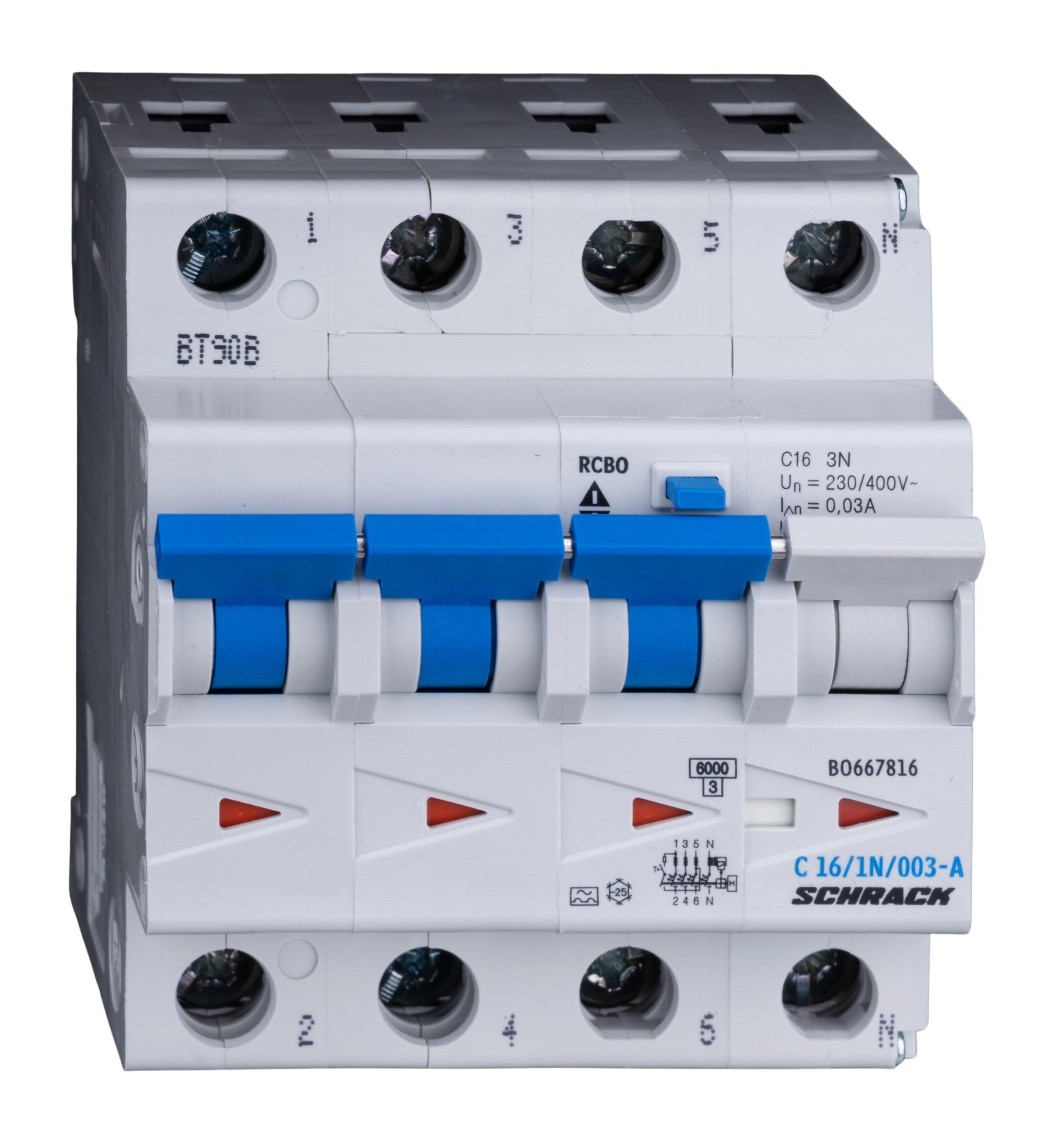 1 Stk LS-FI-Schalter, Kennlinie C, 16A, 30mA, 3-polig+N, Typ A BO667816--