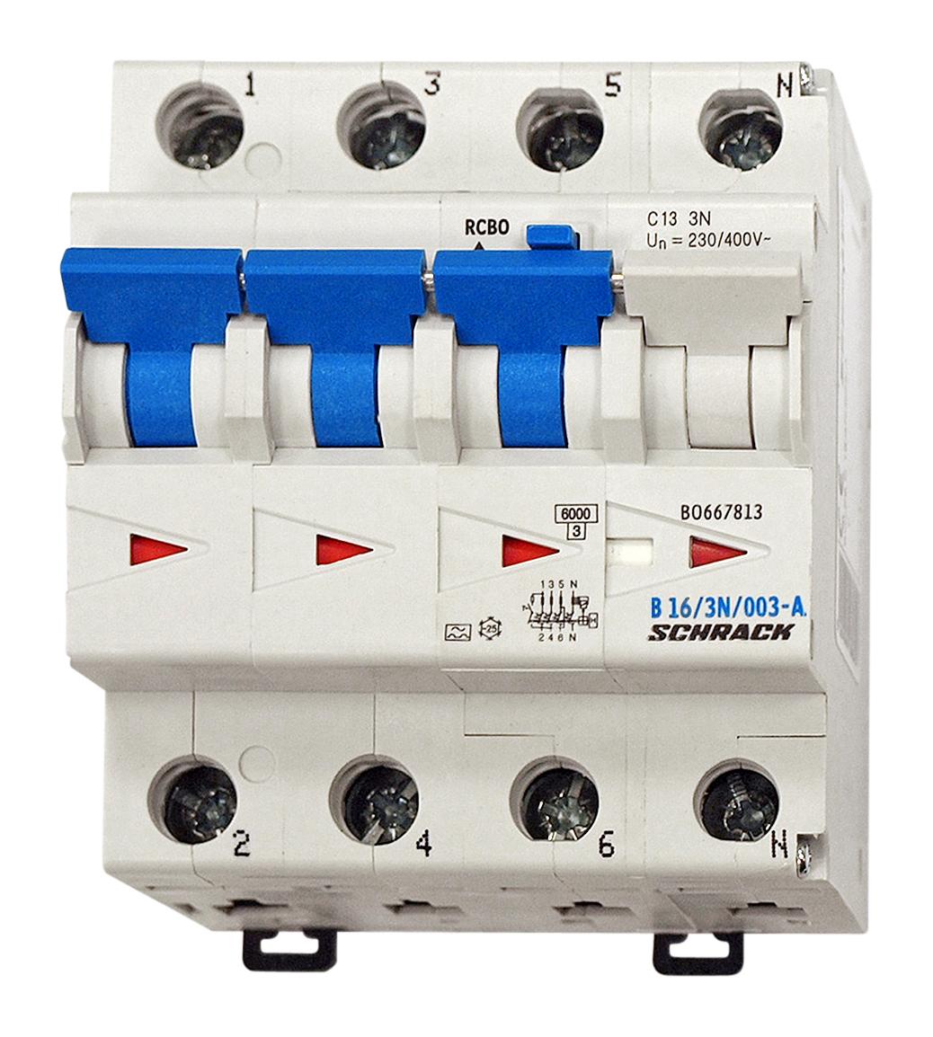 1 Stk LS-FI-Schalter, Kennlinie B, 16A, 30mA, 3-polig+N, Typ A BO668816--