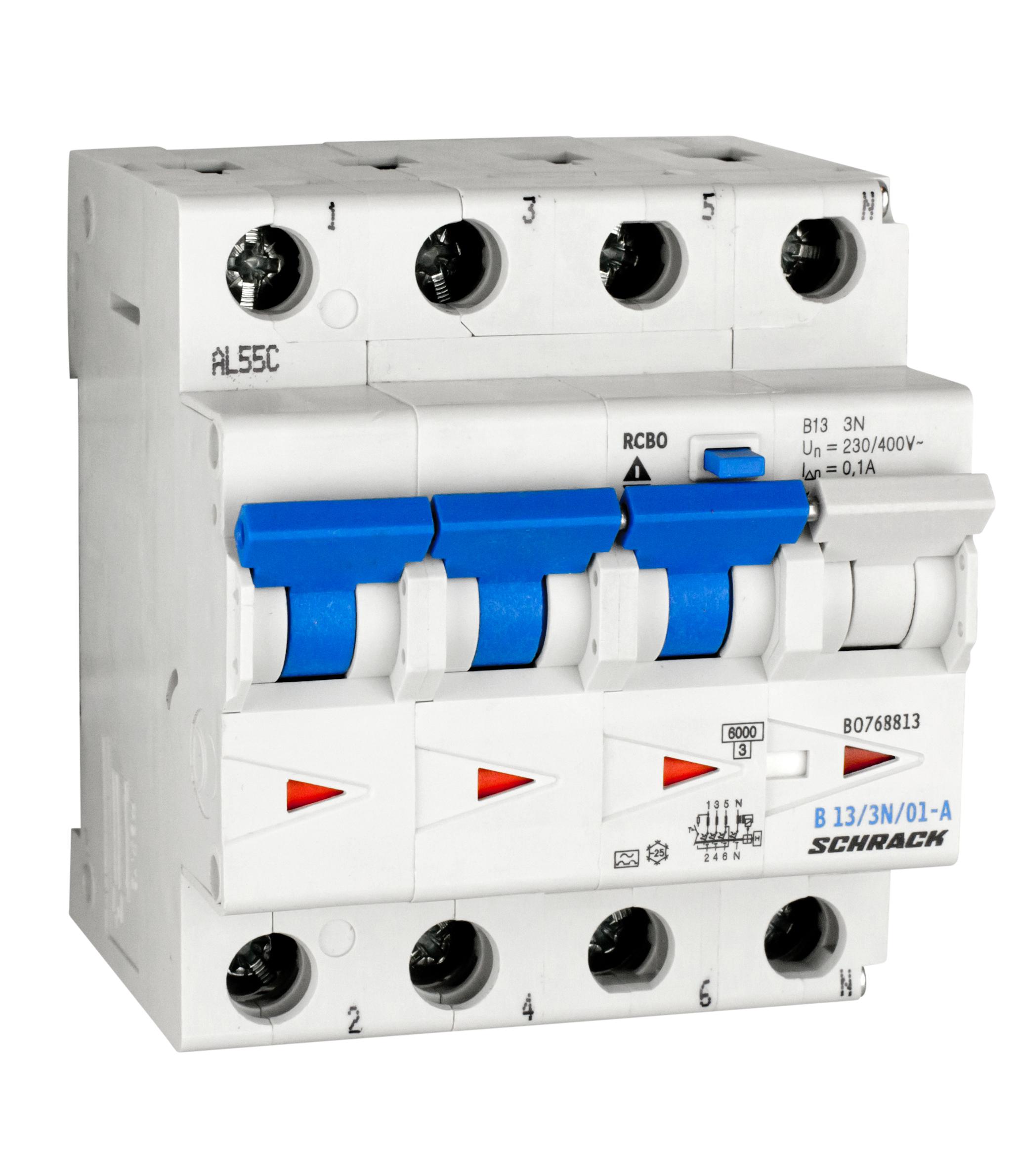1 Stk LS-FI-Schalter, Kennlinie B, 13A, 100mA, 3-polig+N, Typ A BO768813--
