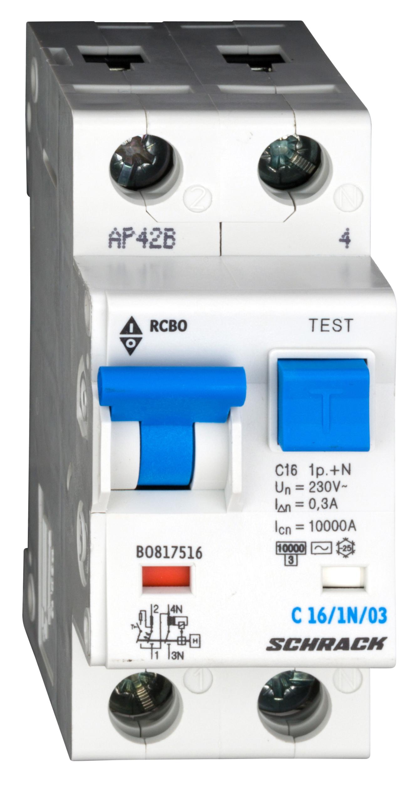 1 Stk LS-FI-Schalter, Kennlinie C, 16A, 300mA, 1-polig+N, Typ AC BO817516--