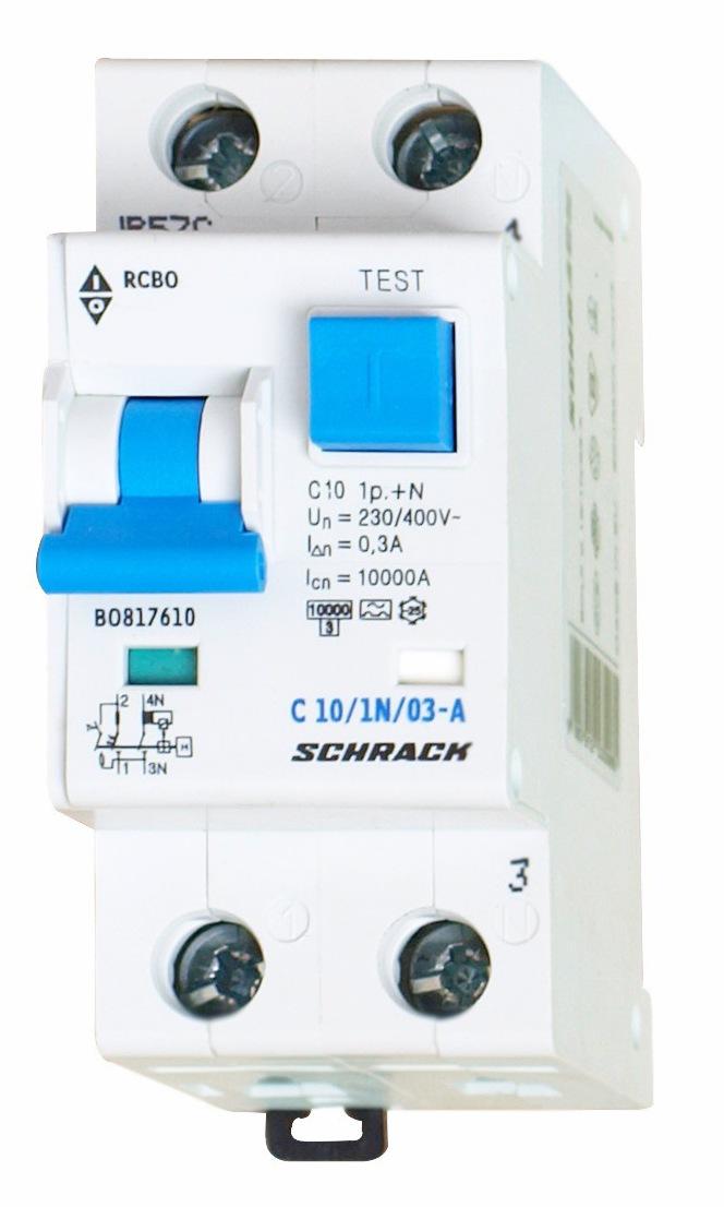 1 Stk LS-FI-Schalter, Kennlinie C, 10A, 300mA, 1-polig+N, Typ A BO817610--
