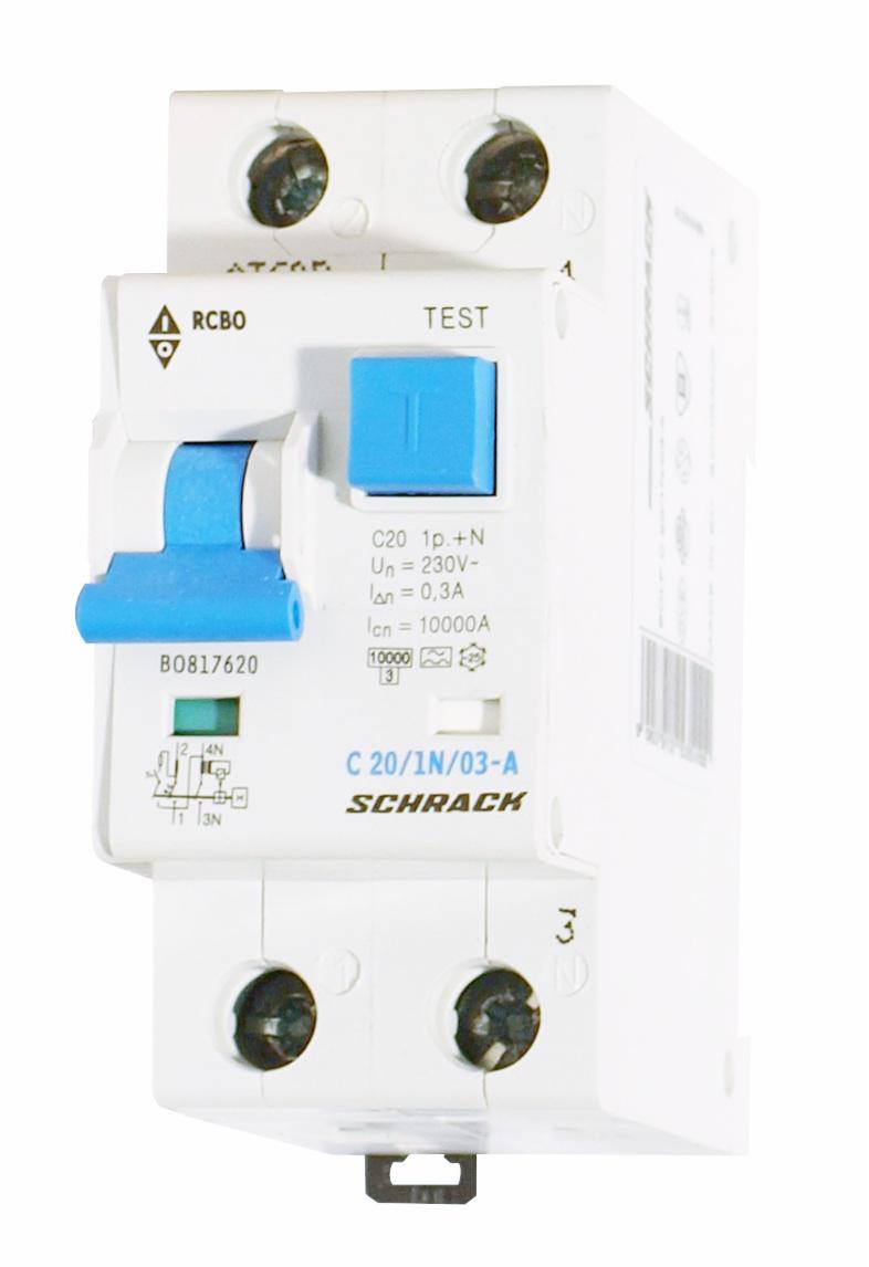 1 Stk LS-FI-Schalter, Kennlinie C, 20A, 300mA, 1-polig+N, Typ A BO817620--