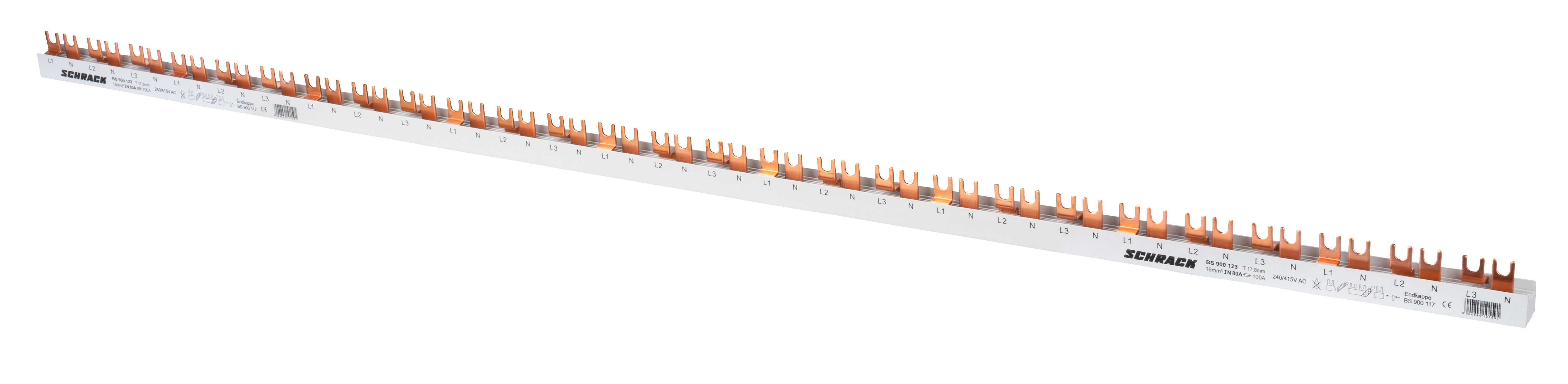 1 Stk Kompaktversch. 4-polig, 1/N/2/N/3/N, 16mm², Gabelausf. 1m BS900123--
