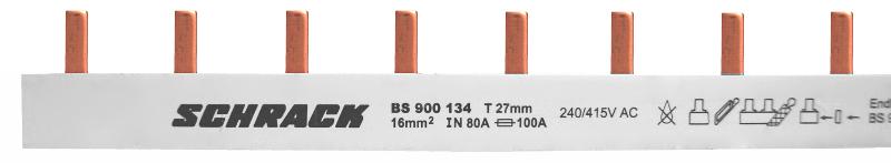 1 Stk Stiftverschienung 3-polig, 16mm² / TE=27mm für Neozed, 1m BS900134--