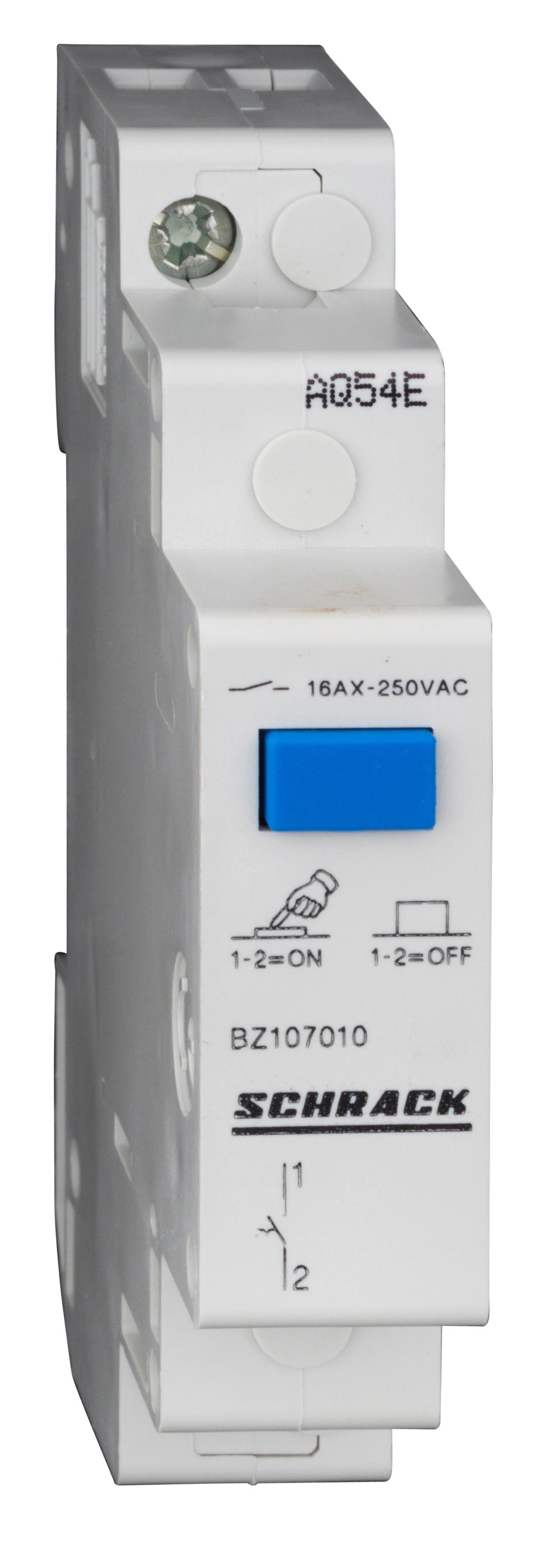 1 Stk Reiheneinbau-Schalter mit Druckknopf, 1 Schließer, 16A BZ107010--