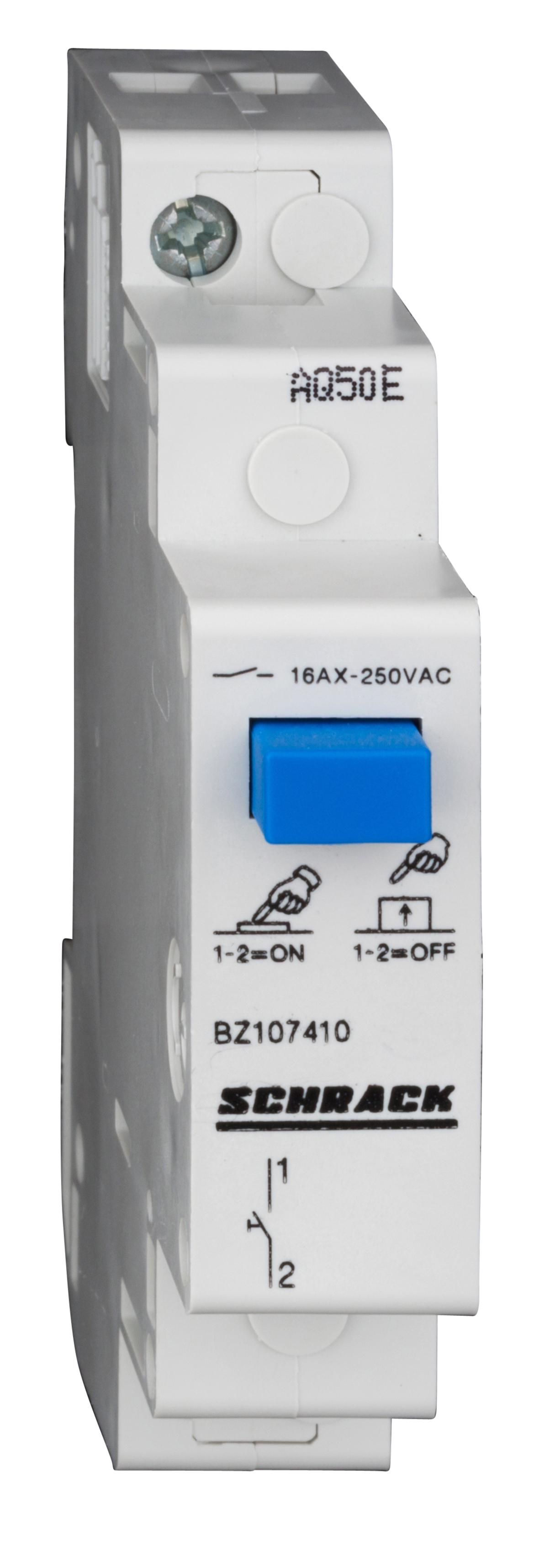 1 Stk Reiheneinbau-Taster mit Druckknopf, 1 Schließer, 16A BZ107410--