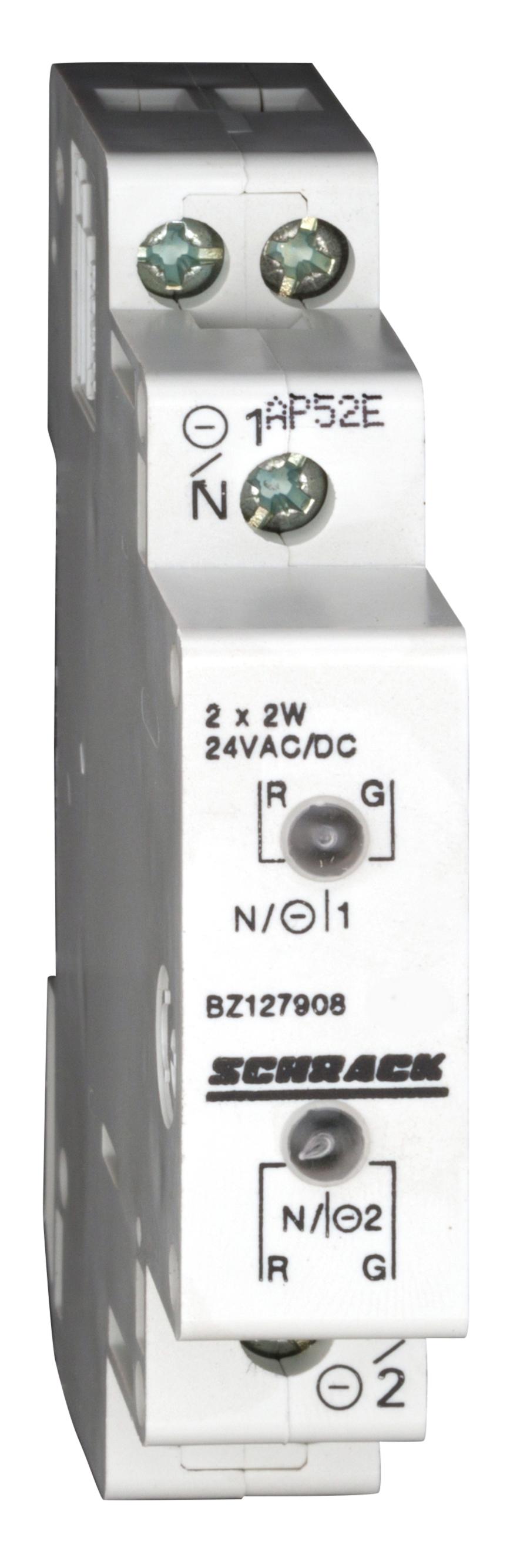 1 Stk Reiheneinbau-Doppelleuchte LED 12-24VAC/DC, rot/grün BZ127908--