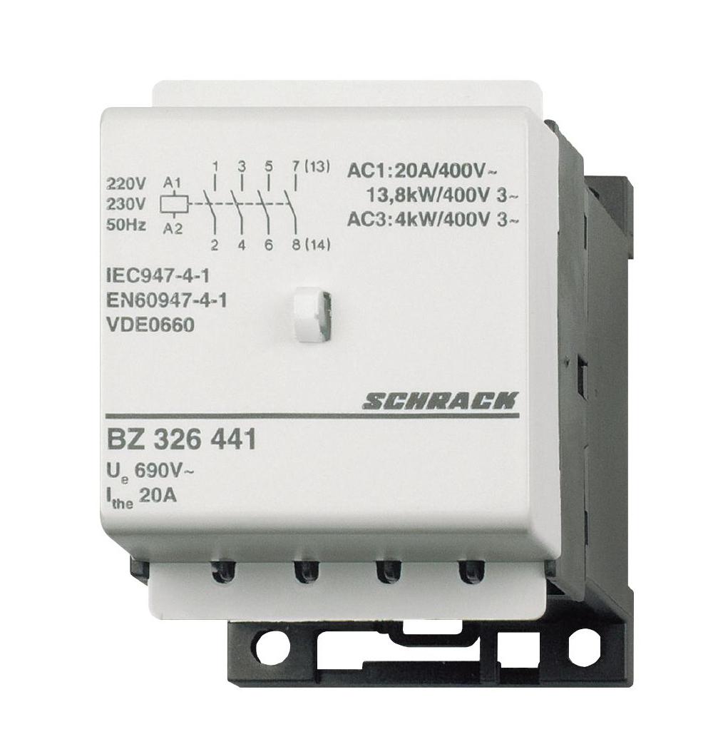 1 Stk Installationsschütz 20A, 4S, 230VAC 2TE BZ326441--