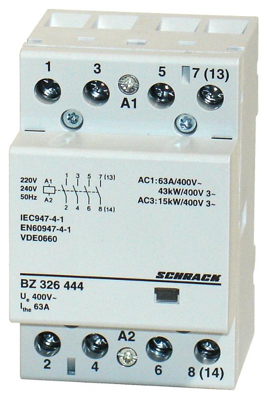 1 Stk Installationsschütz 63A, 4S, 230VAC 3TE BZ326444--