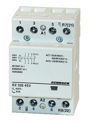 1 Stk Installationsschütz 63A, 3S+1Ö, 230VAC 3TE BZ326452--