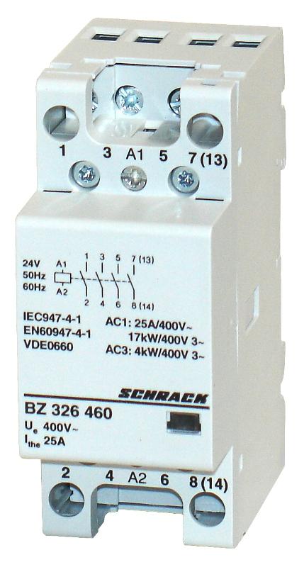 1 Stk Installationsschütz 25A, 4S, 24VAC 2TE BZ326460--