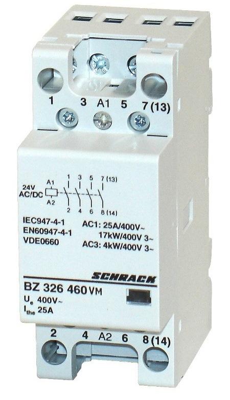 1 Stk Installationsschütz 25A, 4S, 24VACDC 2TE BZ326460VM
