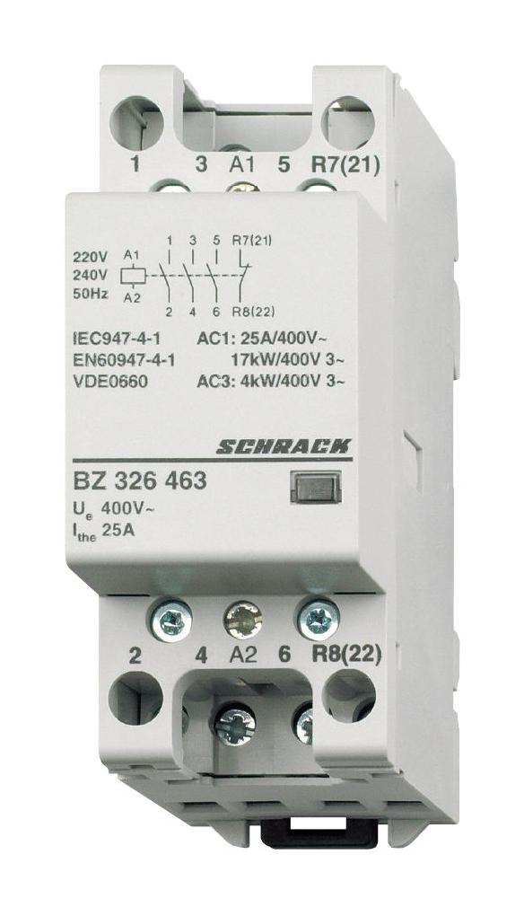 1 Stk Installationsschütz 25A, 3S+1Ö, 230VAC 2TE BZ326463--