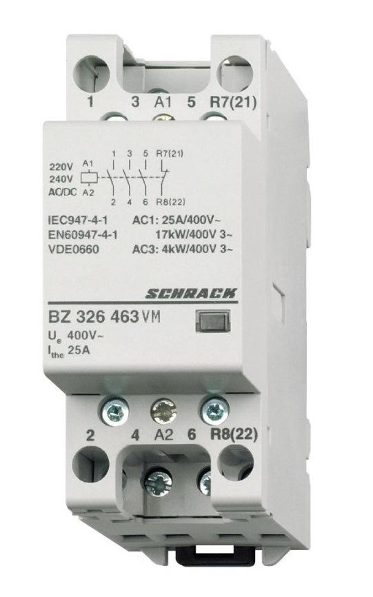 1 Stk Installationsschütz 25A, 3S+1Ö,230VACDC 2TE BZ326463VM
