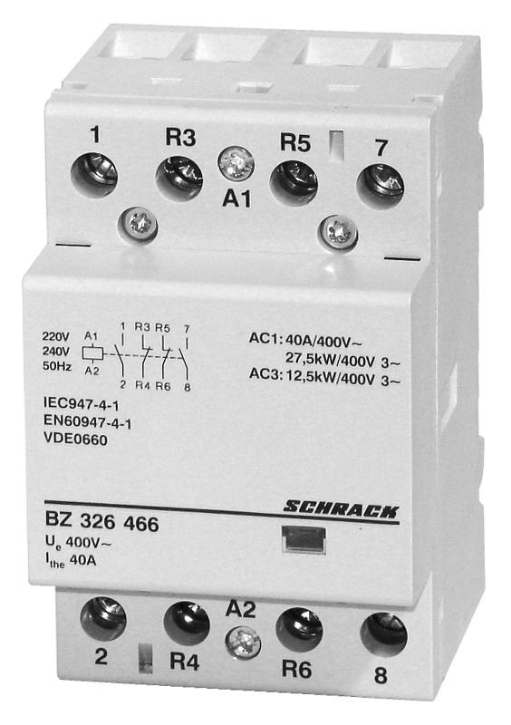 1 Stk Installationsschütz 40A, 2S+2Ö, 230VAC 3TE BZ326466--