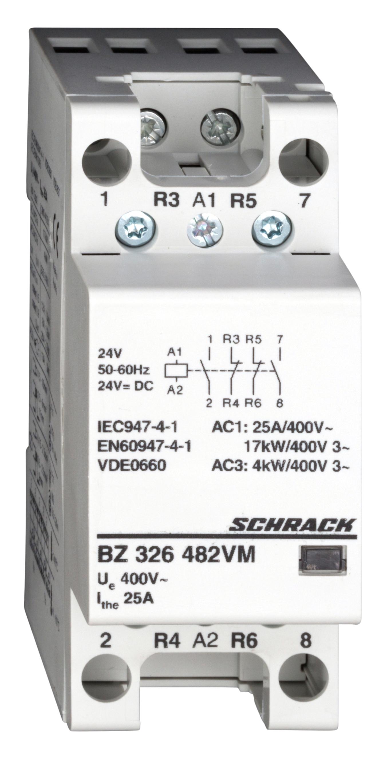 1 Stk Installationsschütz 25A, 2S+2Ö, 24VACDC 2TE BZ326482VM