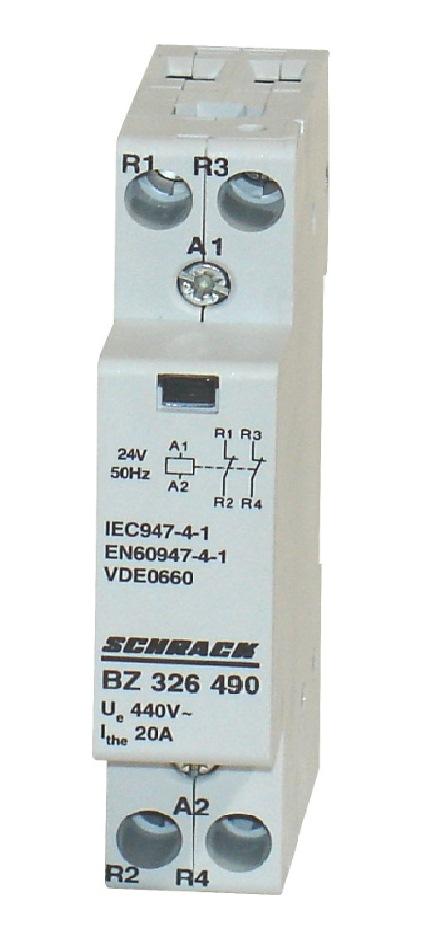 1 Stk Installationsschütz 20A, 2Ö, 24VAC 1TE BZ326490--