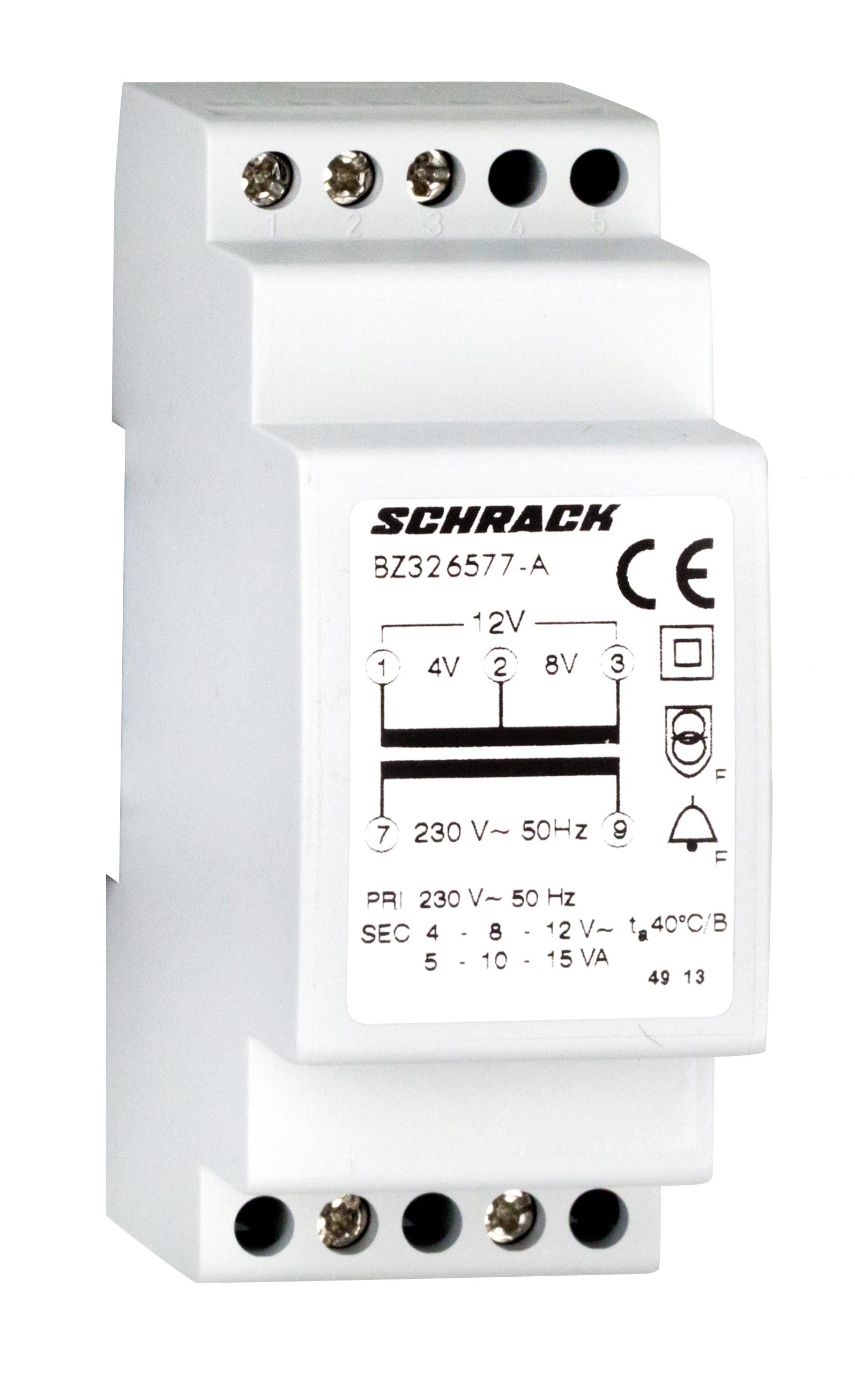 1 Stk RE-Klingeltrafo, 230VAC primär, 4/8/12VAC sekundär, 15VA BZ326577-A