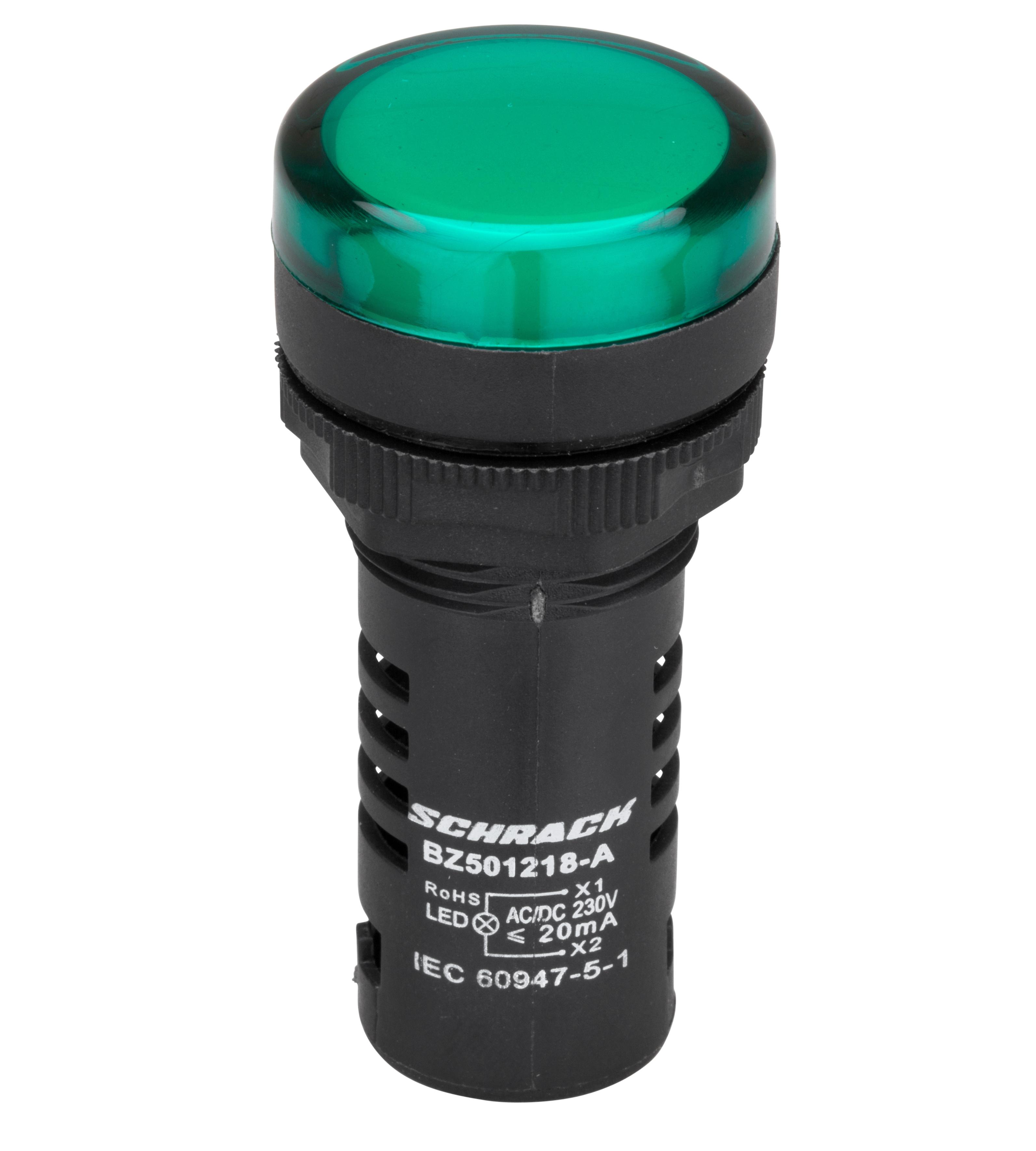 1 Stk LED-Leuchtmelder Monoblock  230 V - AC/DC grün BZ501218-B