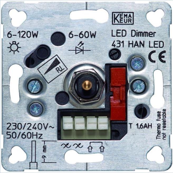 1 Stk Dimmereinsatz 6-60W/VA bei LED, 6-120W bei Halogen EHAN431LED
