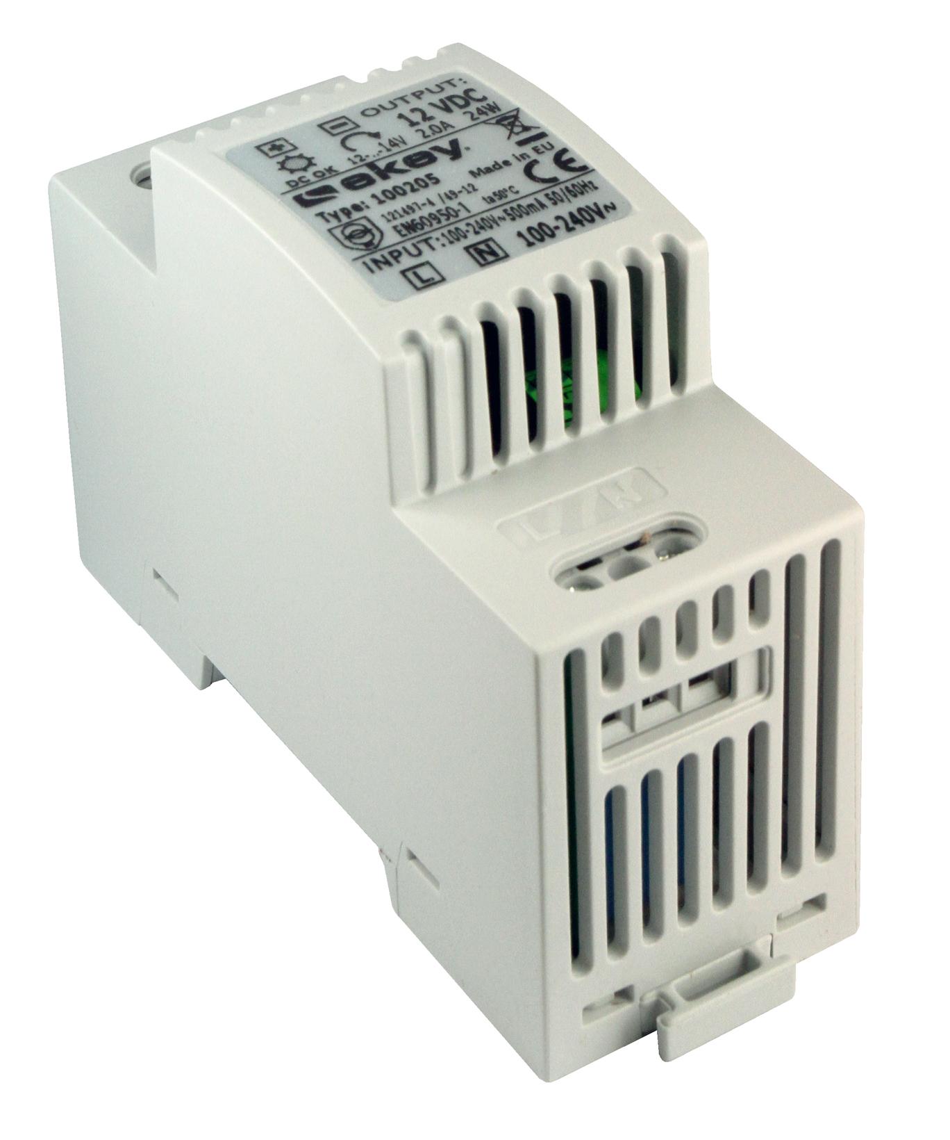 1 Stk Netzteil Ausgang: 12VDC, Leistung: 2A, Reiheneinbau 3 TE EK100205--