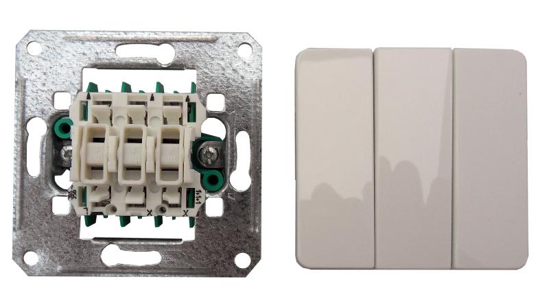 1 Stk UP-Einsatz Ausschalter 3-fach mit Wippe, reinweiß EL201104--