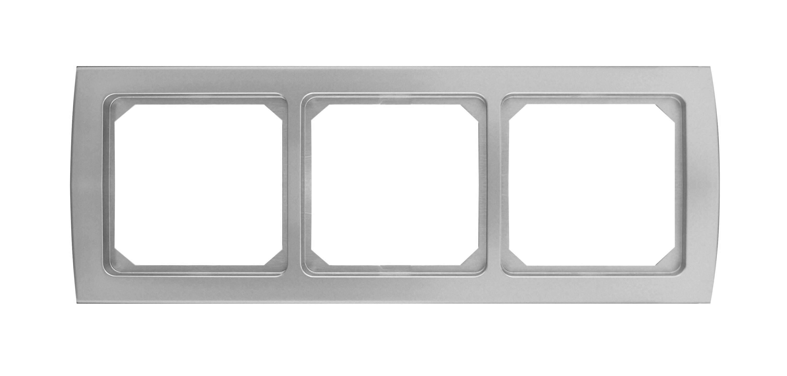 1 Stk Rahmen 3-fach, Edelstahleffekt Riva EL2043211-