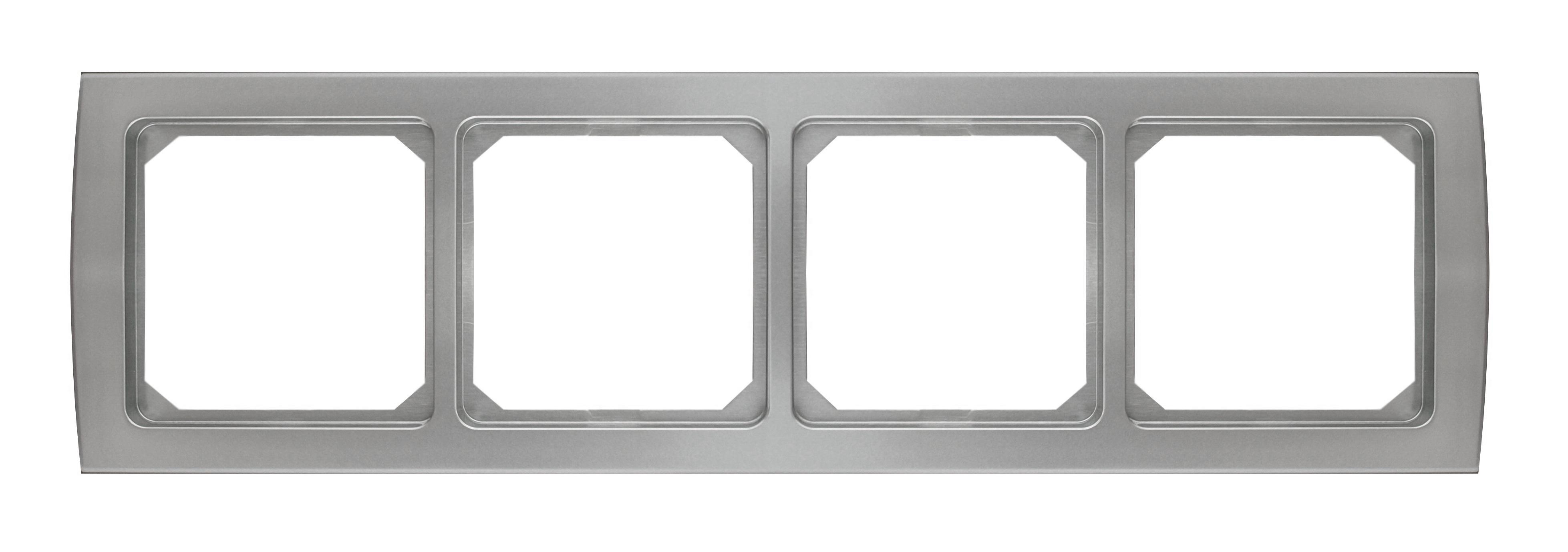 1 Stk Rahmen 4-fach, Edelstahleffekt Riva EL2044211-