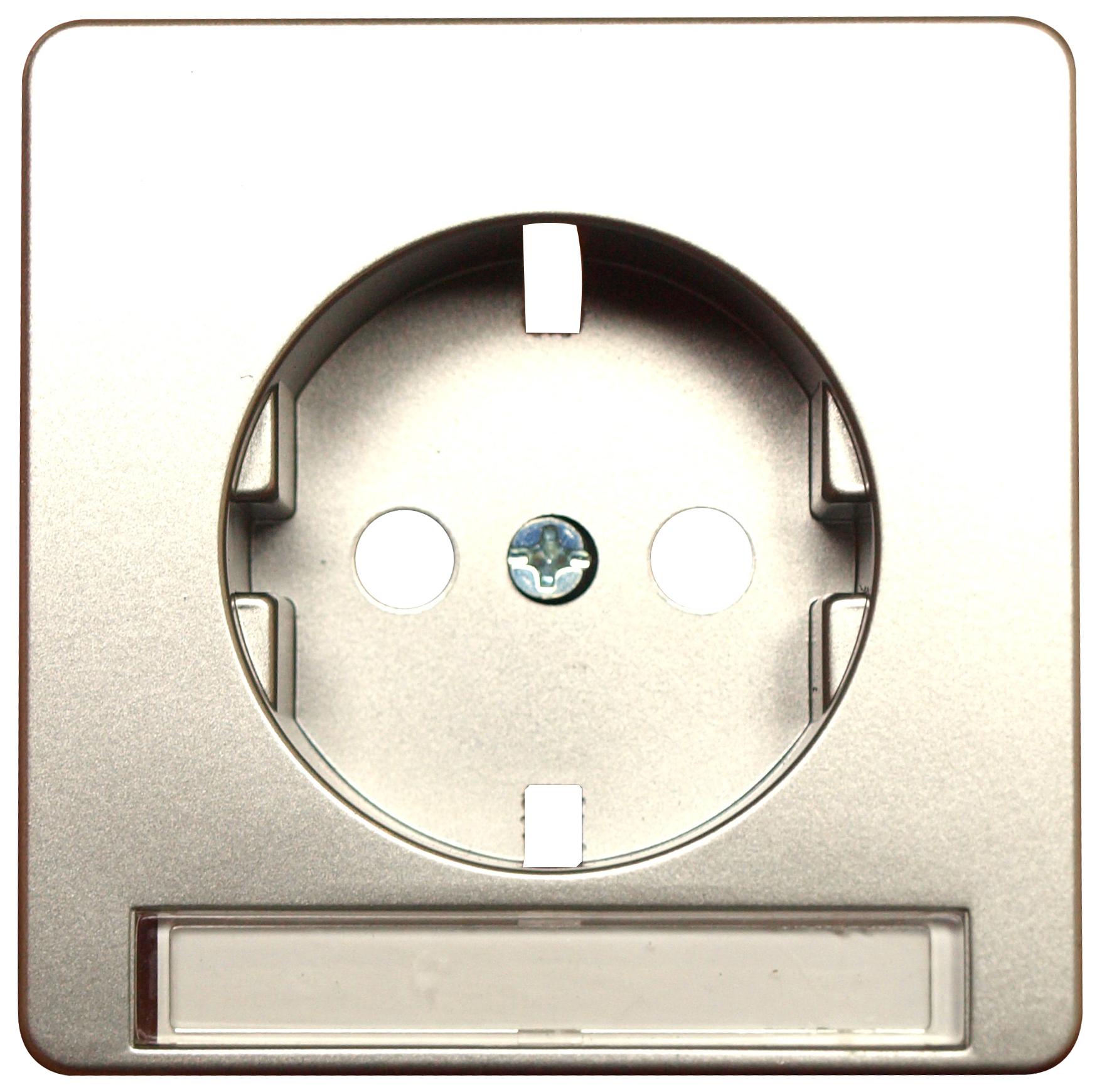 1 Stk UP-Steckdoseneinsatz mit Schriftfeld, Steckklemmen, Edelstah EL2050111-