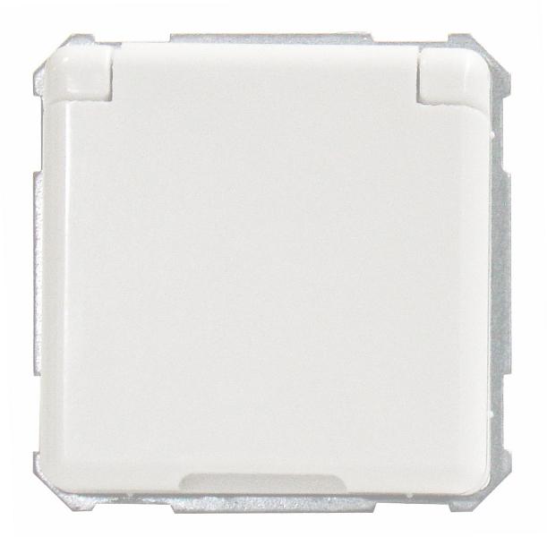 1 Stk UP-Steckdoseneinsatz mit Klappdeckel, Steckklemmen, reinweiß EL205034--