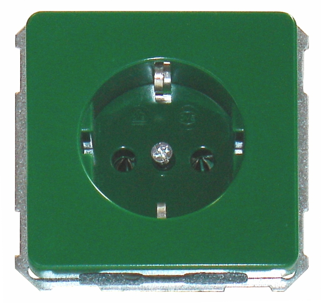 1 Stk UP-Steckdoseneinsatz, Steckklemmen, grün EL205107--