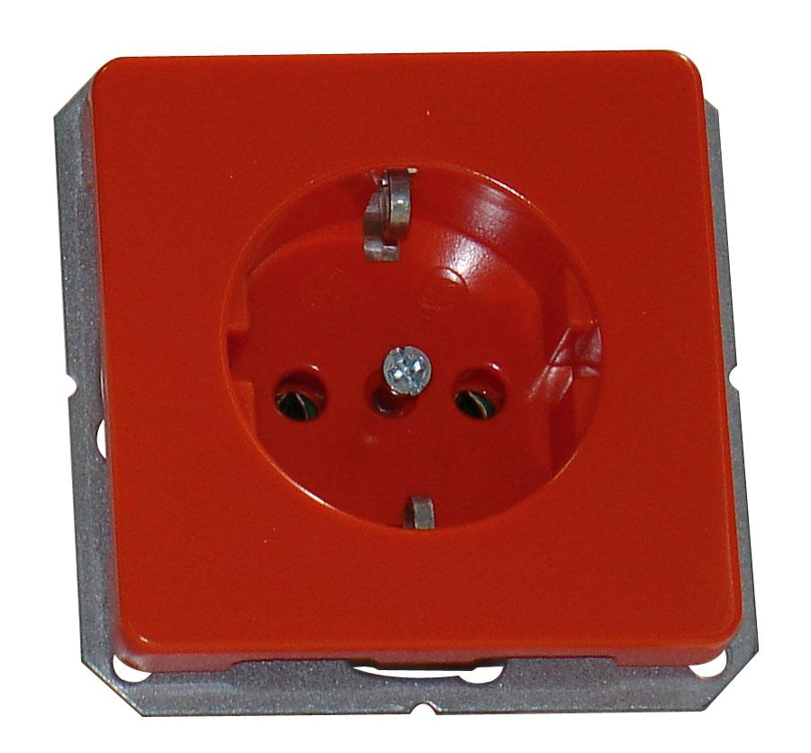 1 Stk UP-Steckdoseneinsatz, Steckklemmen, orange EL205108--