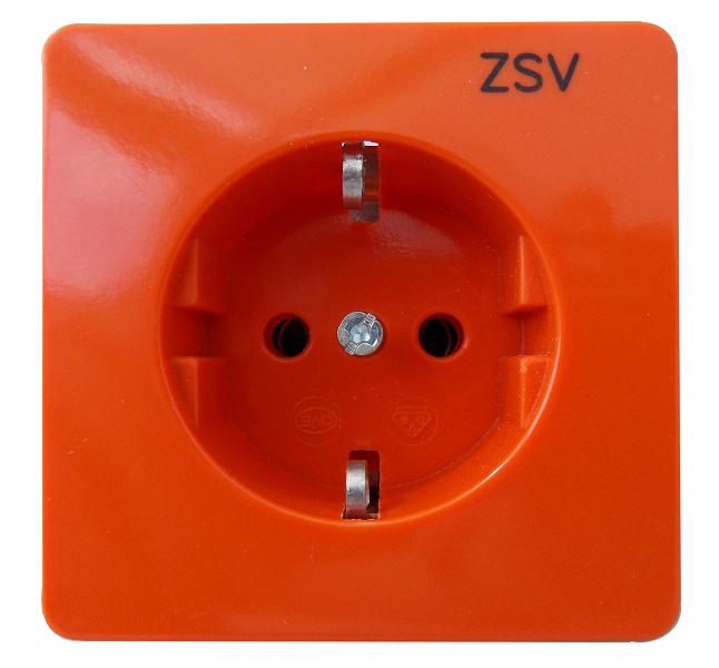 1 Stk UP-Steckdoseneinsatz mit Aufdruck ZSV, Steckklemmen, orange EL205118--