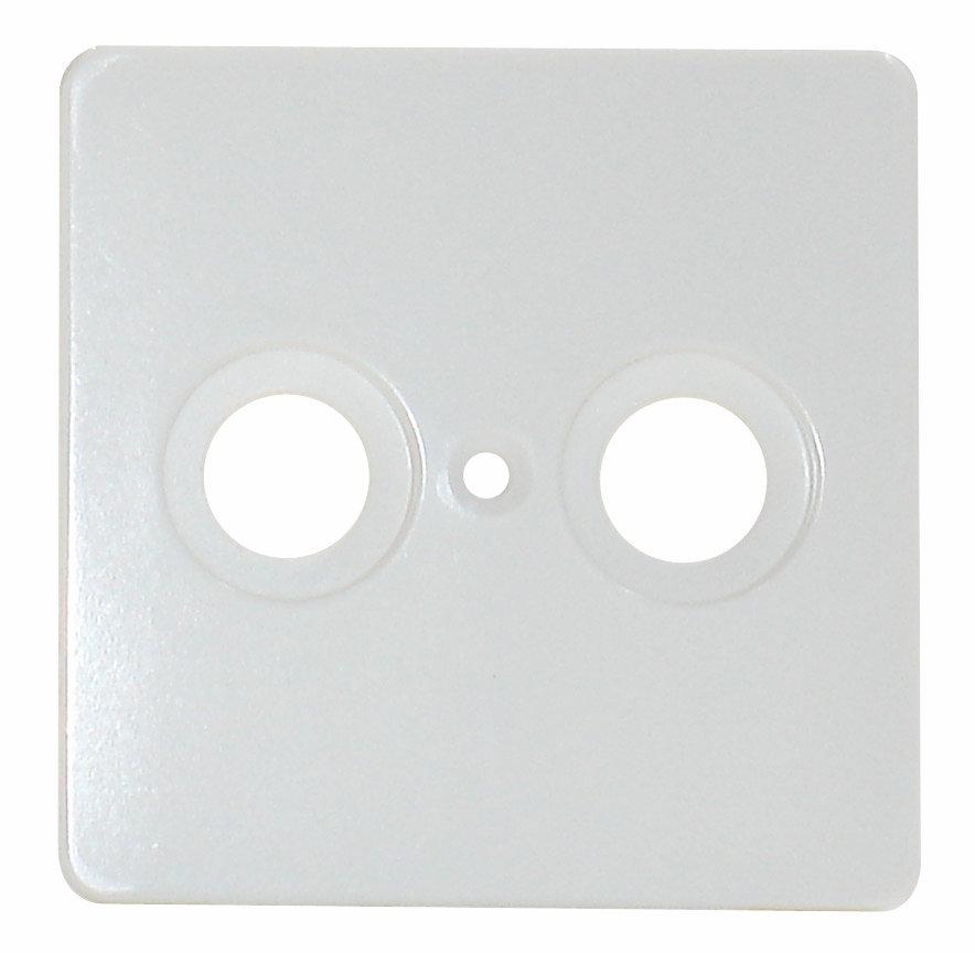 1 Stk Zentralplatte 2-Loch für Antennensteckdose, perlweiß EL206020--