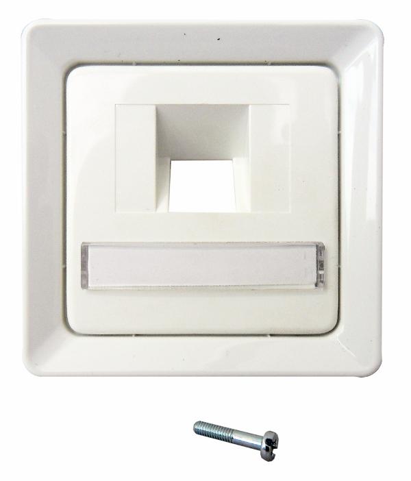 1 Stk Zentralplatte für UAE 1xRJ45 mit Schriftfeld, perlweiß EL206520--
