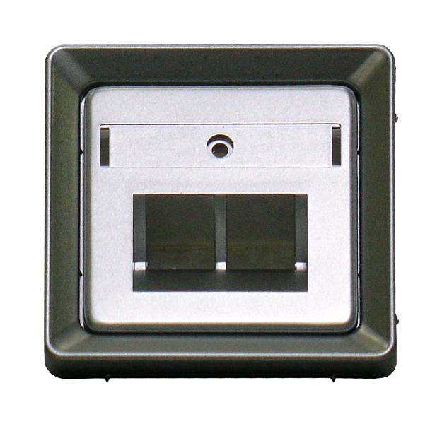 1 Stk Zentralplatte mit Schriftfeld für UAE 2xRJ45, Alueffekt EL2065319-