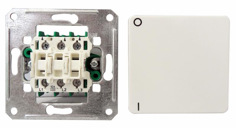 1 Stk UP Ausschalter 3-polig, 10A, 400VAC, Steckklemmen, reinweiß EL211304--