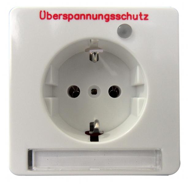 1 Stk UP-Steckdoseneinsatz mit Überspannungsschutz, reinweiß EL215134--